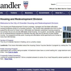 Screenshot of and linked to Chandler Arizona's Housing and Redevelopment Division's Website which provides the status of the Waiting List Application period