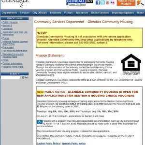 Screenshot of and image linked to Glendale Arizona's Community Housing Website which provides the status of the Waiting List Application period