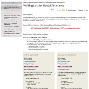 Screenshot of and link to Mesa Arizona's Housing and Community Development website which provides the status of the Waiting List Application period