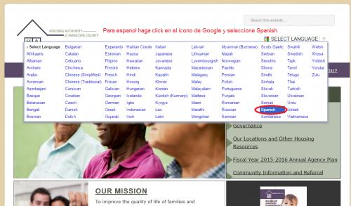 Para espanol haga click en el icono de Google y seleccione Spanish.